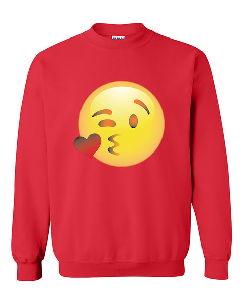 Wink Face Emoji Funny Winking  Eye Smile Face Emoji Crewneck Sweater