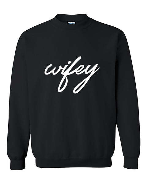 Wifey Matching Couple Valentine's Day Gift Crewneck Sweater