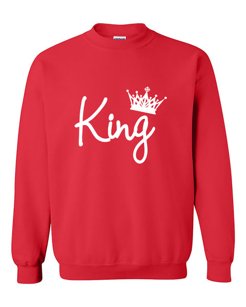 King Hand Script Couples Matching Fasion Valentine's Day Gift Crewneck Sweater
