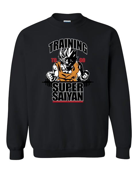 Training To Go Super Saiyan Funny Fitness Gym Workout Crewneck Sweater