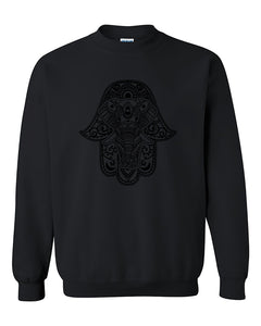 Black Hamsa Elephant Tattoo pattern Crewneck Sweater