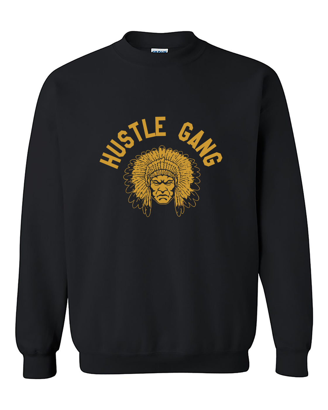 Hustle Gang headdressed Face front Crewneck Sweater