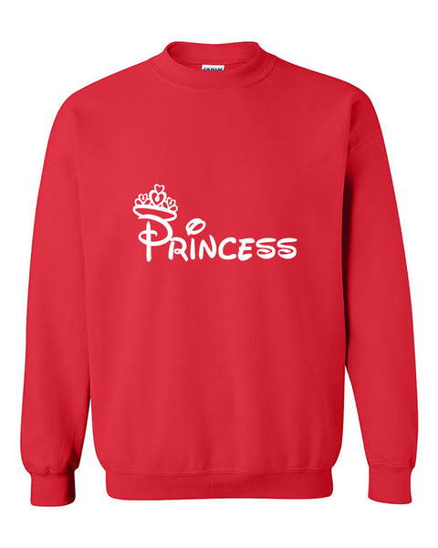 Princess White Crown Couples Matching  Valentine's Day Gift Crewneck Sweater