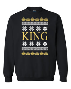 Christmas King Ugly Christmas Seater Christmas Sweatshirt For Couples Christmas gift Crewneck Sweater