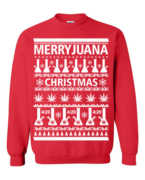 Merryjuana Christmas Smokers Ugly Christmas Sweatshirt  420 Smokers Crewneck Sweater