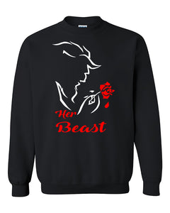 Her Beast Gift for Boyfriend Love Couples Valentine's Day Gift Crewneck Sweater