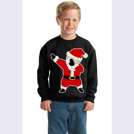 Dabbing through Snow Santa Christmas Youth Sweatshirt