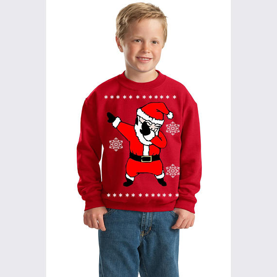 Dab Dance Santa Ugly Christmas Youth Crewneck Sweatshirt
