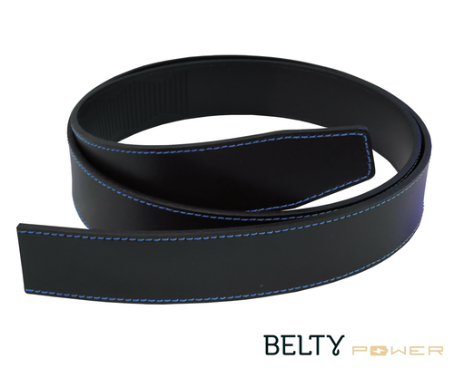 Black Leather for Belty Power with blue stitches