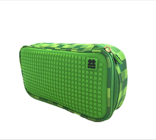 Green Slots Large Pencil Case