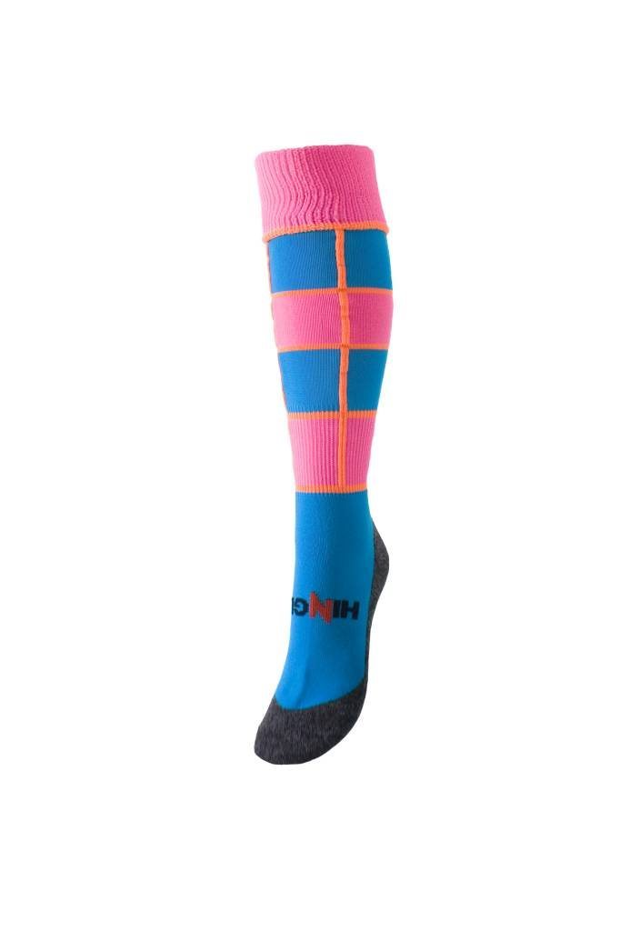 Hingly Hockey Socks College Blue - Blue and pink hooped sock