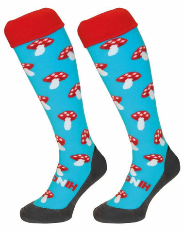 Hingly Hockey Socks Mushroom - Mushroom on a sky blue sock