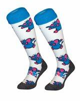 Hingly Hockey Socks Olifant - Blue Olifant on a white coloured sock
