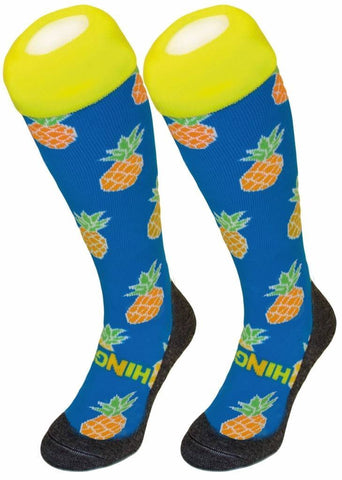 Hingly Hockey Socks Pineapple - Pineapple on a blue sock