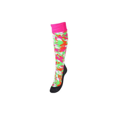 Hingly Hockey Socks Camouflage Fluo - Pink, green and white camouflage patterned sock