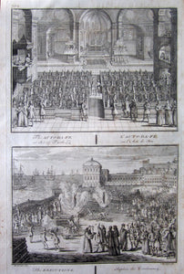 Antique Print, Auto-da-Fe, Inquisition, 1734