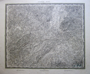 Antique Map, Besancon-Basel, 1838