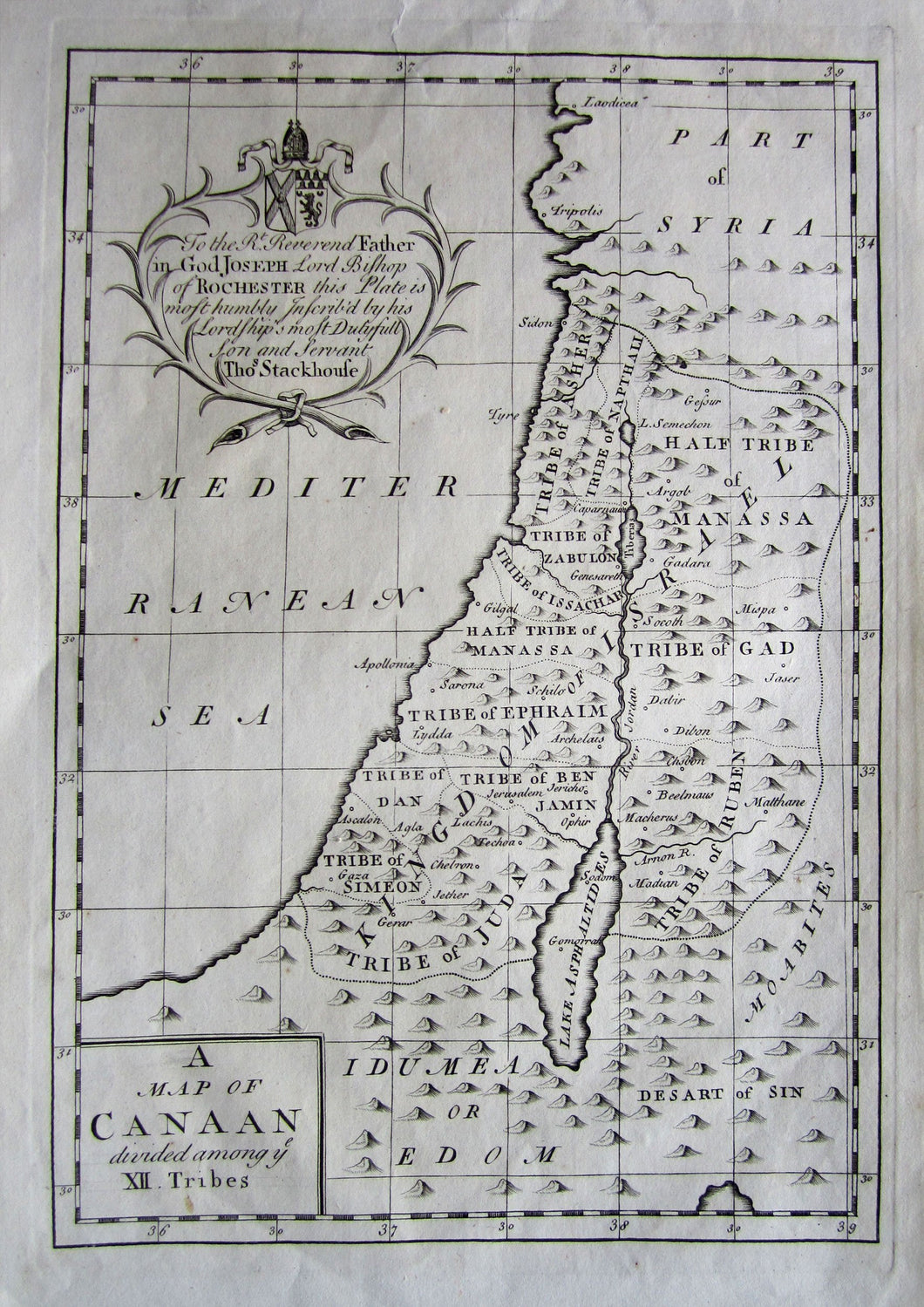 Antique Map A Map Of Canaan Divided Among The Xll Tribes 1733 Maps