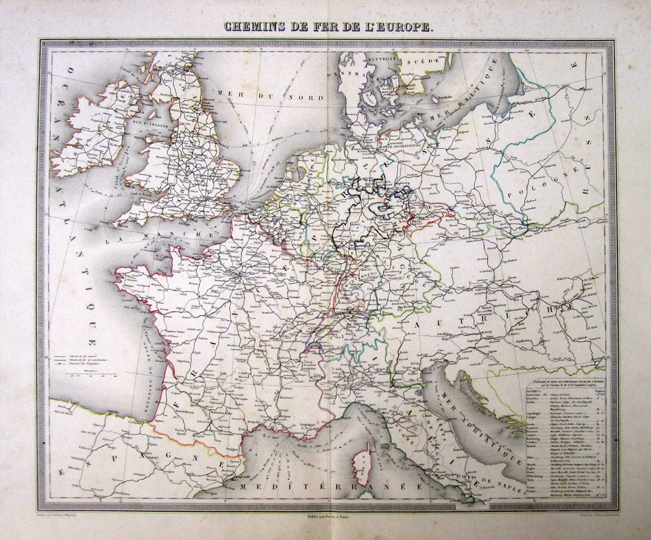 Antique Map, Railway routes of Europe. Chemins de Fer de Europe, 1863