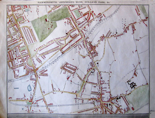 Antique Map, Hammersmith, Shepherds Bush, Holland Park, c 1860