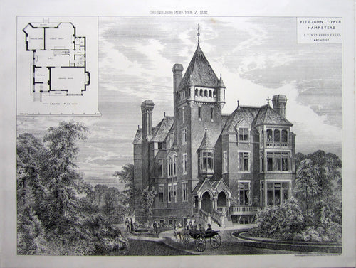Antique Print, Fitzjohn Tower Hampstead, 1881