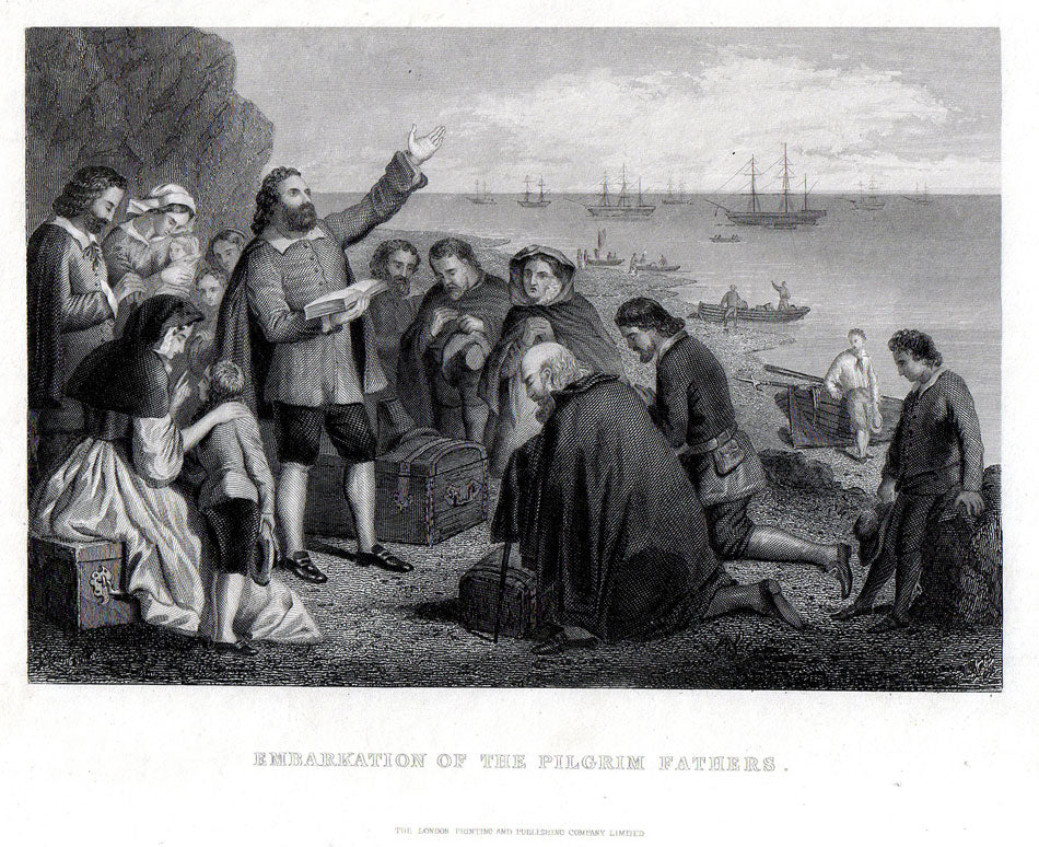 Antique Map, Embarkation of the Pilgrim Fathers, c.1840