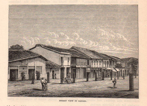 Antique Print, Street View in Saigon, c.1880