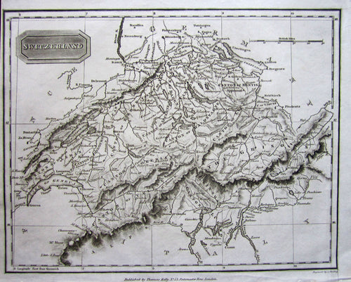 Antique Map, Switzerland, 1821