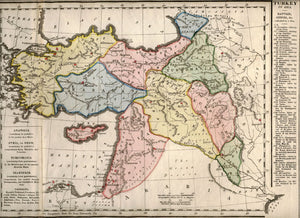 Antique Map, Turkey in Asia, 1828