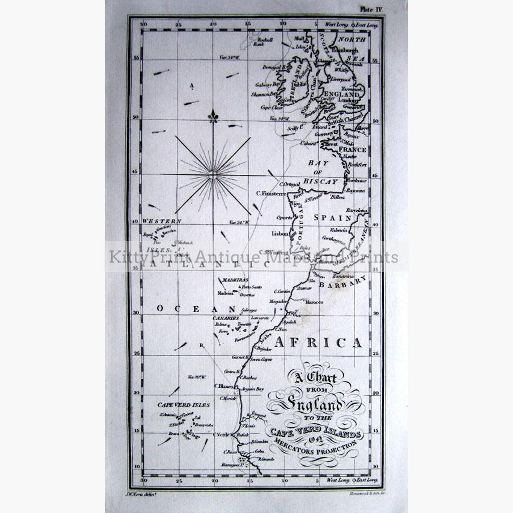 A Chart from England to the Cape Verd Islands,1880 Maps KittyPrint 1800s Africa Sea Charts