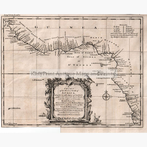 A Chart Of The Western Coast Africa 1738. Maps
