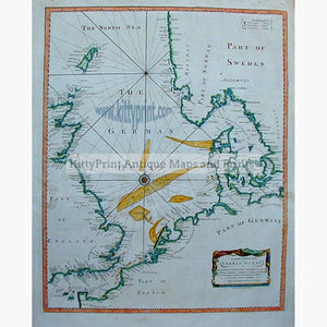 A Correct Chart of the German Ocean c.1790. Maps KittyPrint 1700s England France Germany Scandinavia & Nordic Countries Scotland Sea Charts