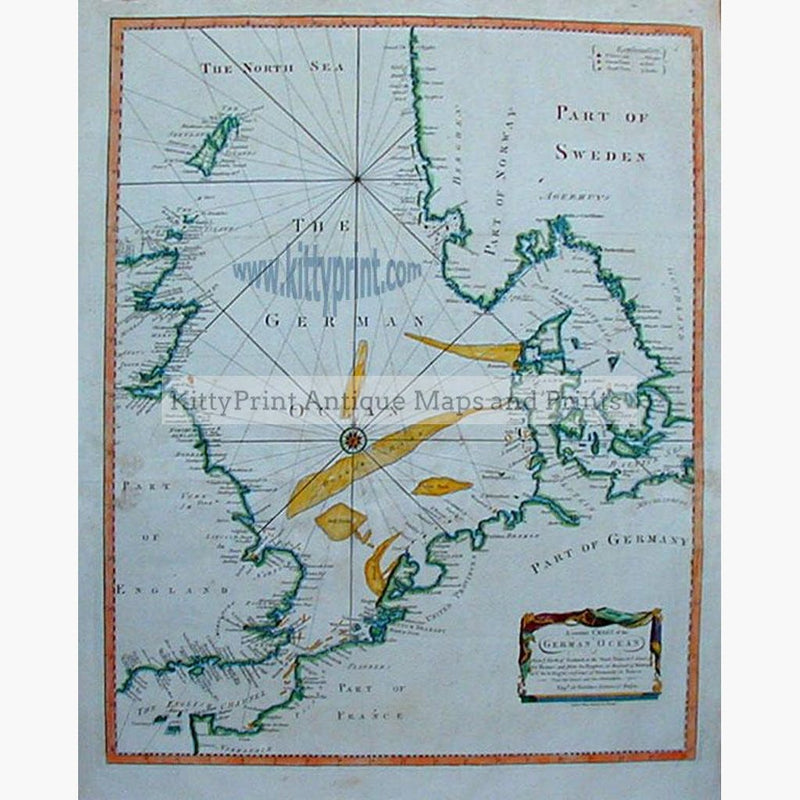 Map Of France England And Scotland.Antique Map A Correct Chart Of The German Ocean C 1790