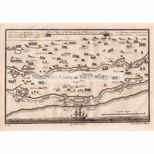 Antique Map, A Map of the Kingdom of Whidah from Marchais, 1745