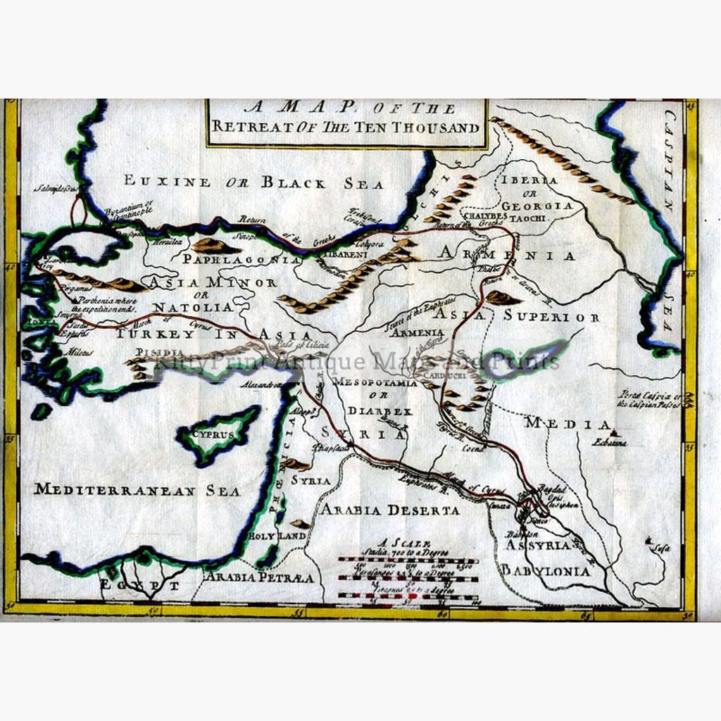 A Map of the Retreat of the Ten Thousand c.1780 Maps KittyPrint 1700s Civilizations & Empires Greece Military
