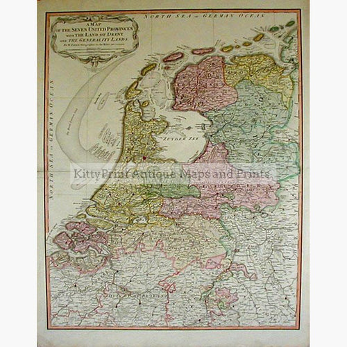 A Map of the Seven United Provinces 1794 Maps KittyPrint 1700s Netherlands & Belgium