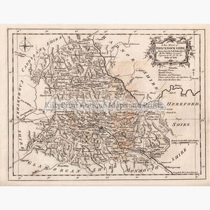 A New map Of Brecknockshire 1764 Maps KittyPrint 1700s Wales
