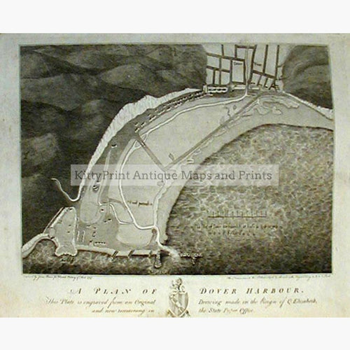A Plan of Dover Harbour 1797 Maps KittyPrint 1700s England Sea Charts