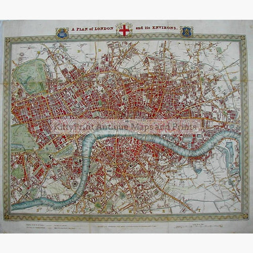 A Plan of London and the Environs 1834 Maps KittyPrint 1800s England Town Plans