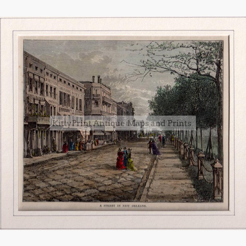 A Street in New Orleans c.1860 Prints KittyPrint 1800s Canada & United States Townscapes
