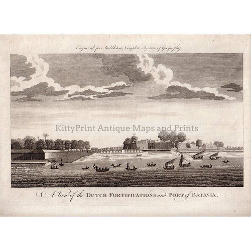 A View Of The Dutch Fortifications And Port Batavia 1779 Prints Kittyprint 1700S India & East Indies Netherlands Belgium Seascapes