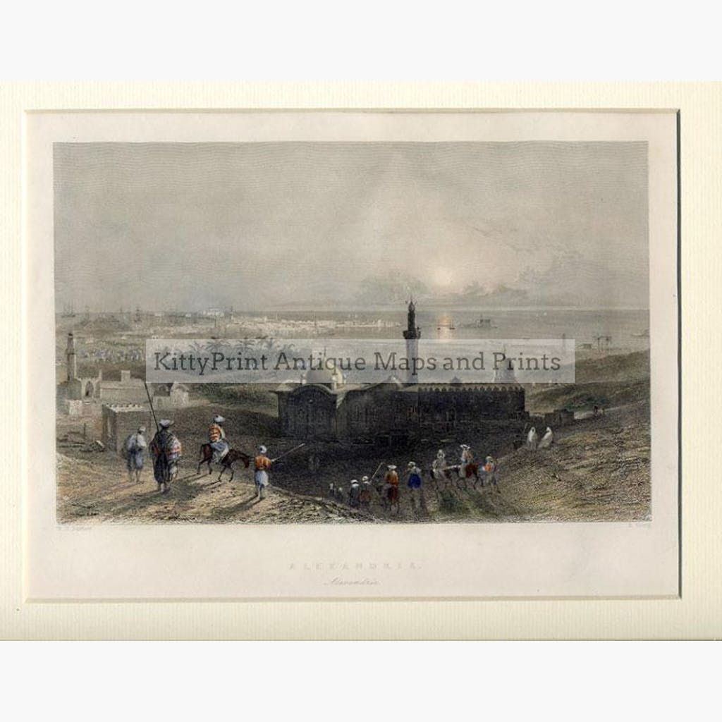 Alexandria c.1840 Prints KittyPrint 1800s Arabia & Egypt Landscapes Seascapes Ports & Harbours