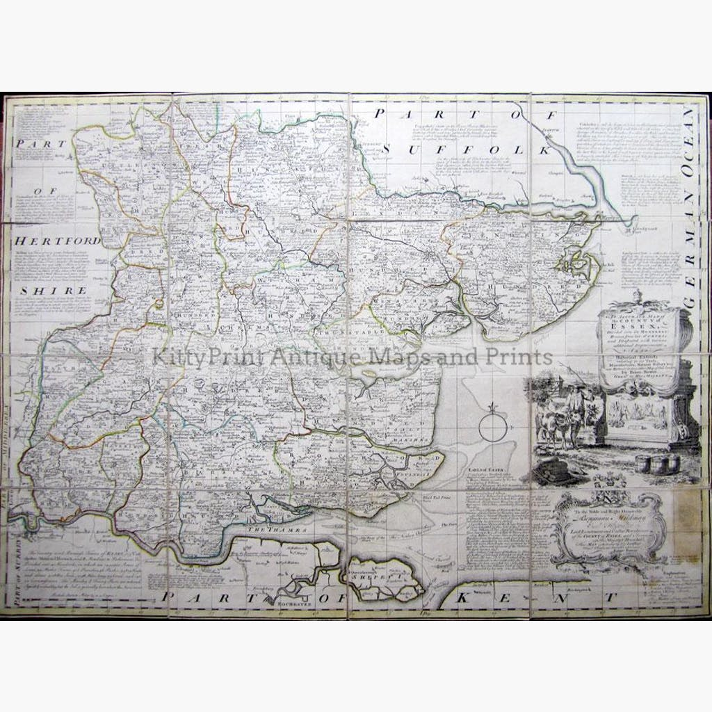 An Accurate map of the County of Essex 1767 Maps KittyPrint 1700s England
