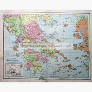 Ancient Greece 1873 Maps KittyPrint 1800s Civilizations & Empires Greece