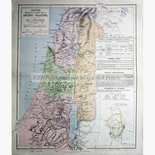 Ancient Palestine 1883 Maps KittyPrint 1800s Biblical Maps Contour & Relief Holy Land