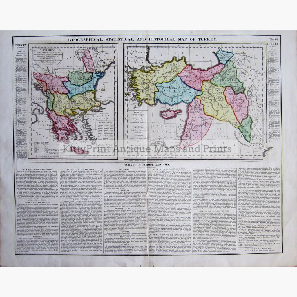 Antique Geographical Statistical and Historical Map of Turkey 1828 Maps