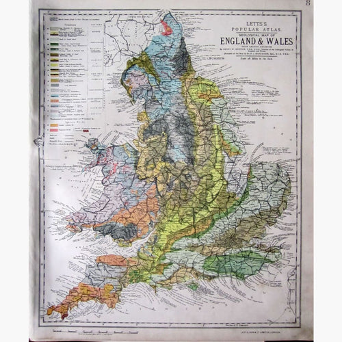 Antique Geological Map of Engalnd and Wales 1881 Maps