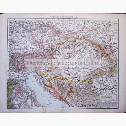 Antique Map Austria-Hungary (General Map) 1895 Maps