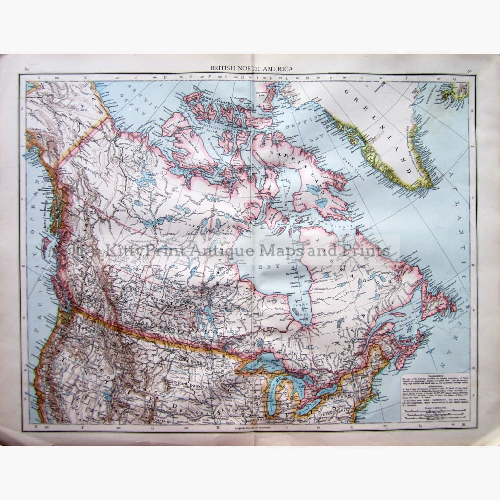 Antique Map British North America 1895 Maps