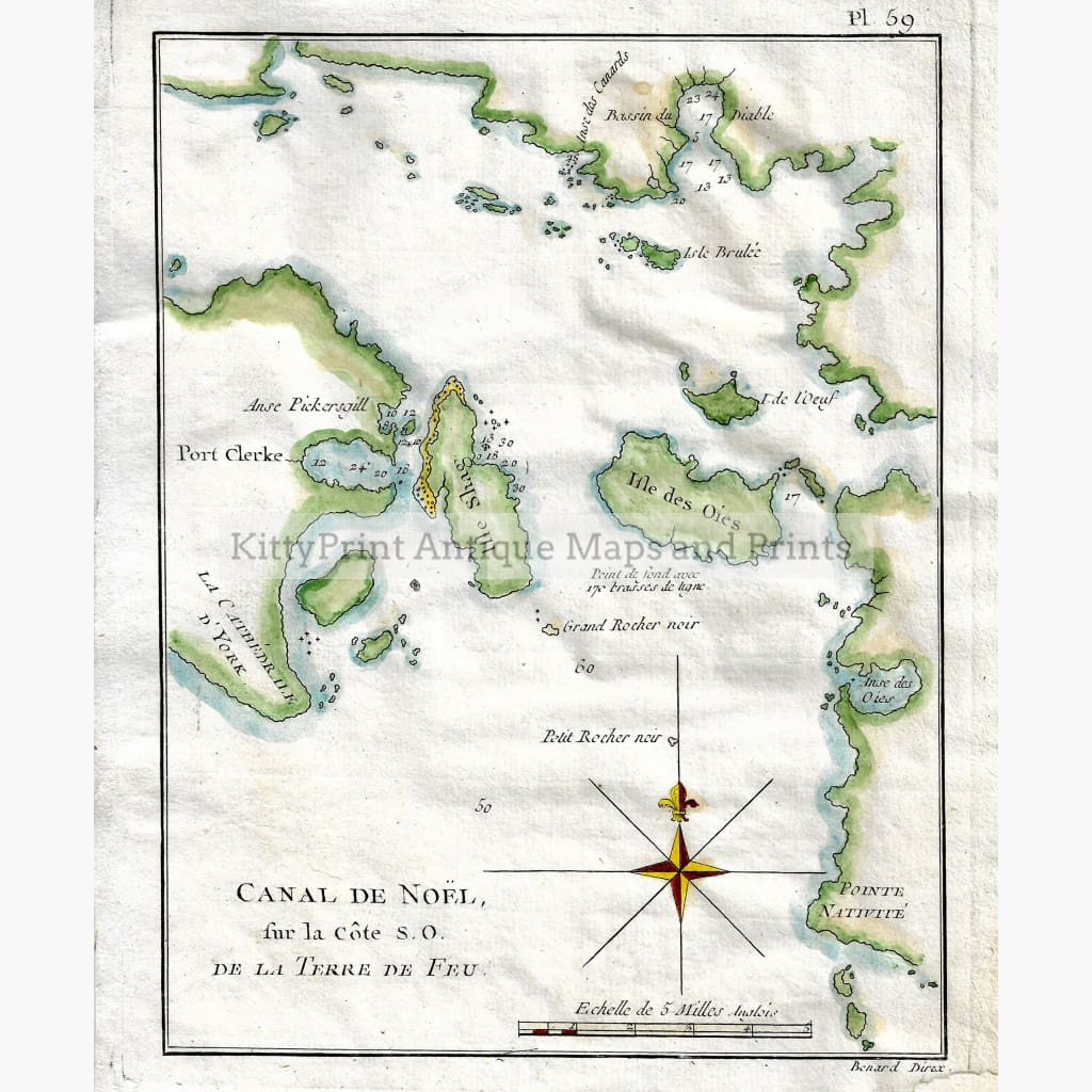Antique Map,Canal De Noel Terre de Feu 1785 Maps